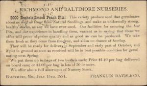 Franklin Davis Nursery Richmond Baltimore 1884 Postal Card Agriculture