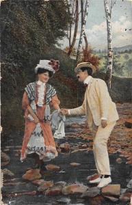 Elegant Fashion Lovers Couple, Gallant Man, Stepping Stones River 1911