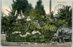 1907 PORTLAND ROSE FESTIVAL Oregon Postcard Floral Parade Float View w/ Cancel