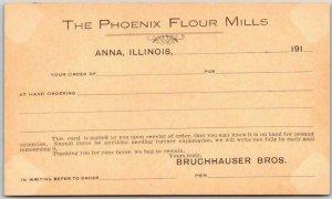 Vintage 1910s ANNA Illinois Postcard THE PHOENIX FLOUR MILLS Unused Receipt Card