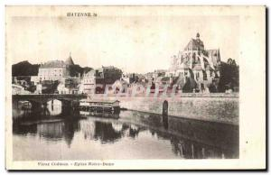 Old Postcard Old Church Mayenne Chateau Notre Dame