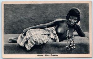 Italian East Africa COSTUMI AFRICA ORIENTALE Woman on Side  Ethnic Nude Postcard