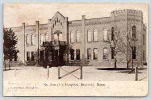 Brainerd Minnesota~St Joseph's Hospital~Bare Trees~1907 Postcard