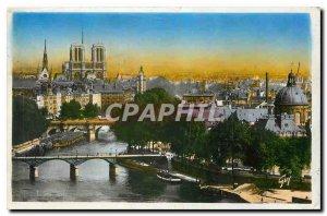 Old Postcard Paris and Wonderland perspective on the Ile de la Cite
