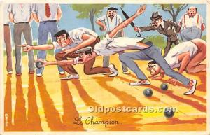 Old Vintage Lawn Bowling Postcard Post Card Le Champion 1965