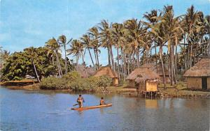Fiji River and Village Scene  River and Village Scene