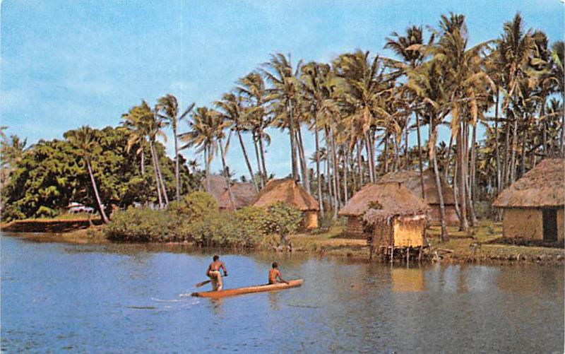 Fiji River and Village Scene  River and Village Scene
