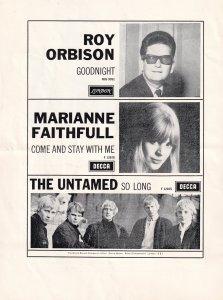 The Roy Orbison Show Vintage Marianne Faithfull Cliff Richard Concert Programme