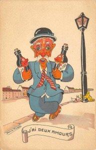 J'AI DEUX AMOURS Vin Comic Jean de Preissac Artist-Signed Wine Vintage Postcard