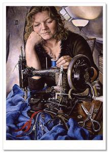 SEW ART~ SEWING Machine WOMAN Spool Zipper Lamp dressmaker Modern Postcard