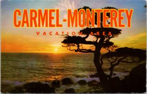 Carmel Monterey Vacation Area CA California Unused Vintage Postcard F65