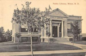 Minot North Dakota Public Library Street View Antique Postcard K82126