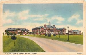 Wichita Kansas~U. S. Veterans' Hospital~View shows 3 buildings~1938~Post Card