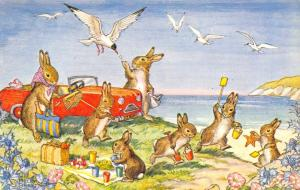 Molly Brett~A Day by the Sea~Bunny Rabbits Picnic~Sea Gulls~Star Fish~Medici