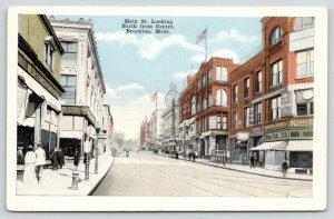 Brockton Massachusetts~Main Street~Robinson Store~Roger's Clothes~Shoppers~1916