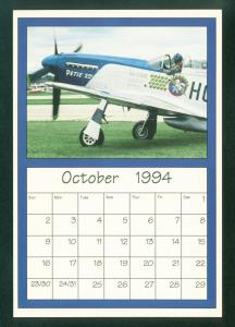 Mustang Fighter Plane P-51 WWII Airshow Limited Edition Calendar Postcard