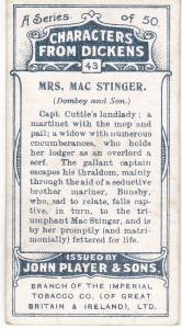 Cigarette Cards Players Characters From Dickens No 43 Mrs. Mac Stinger