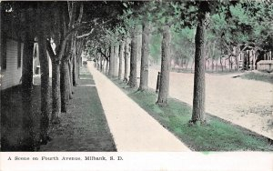 G18/ Milbank South Dakota Postcard c1910 Fourth Avenue Homes Trees