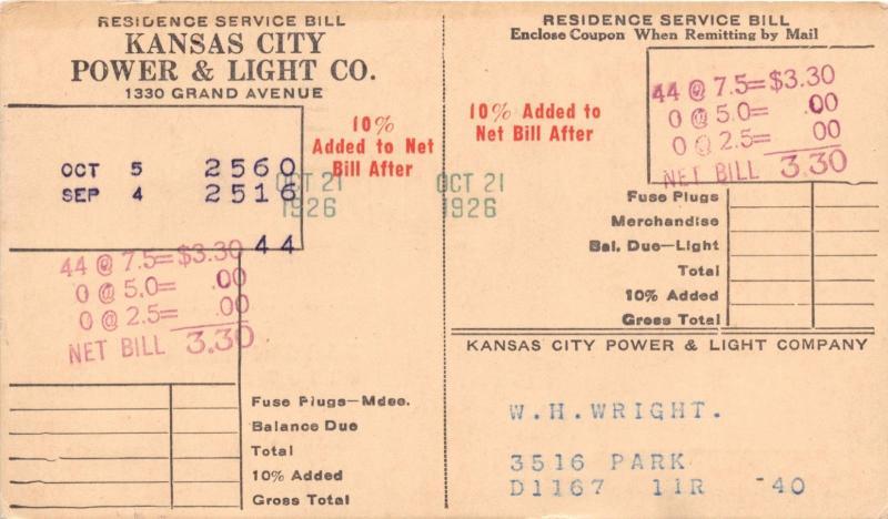 KANSAS CITY MO POWER U0026 LIGHT COMPANY~SERVICE BILL POSTCARD 1926