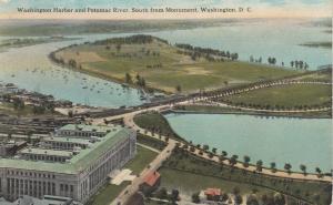 WASHINGTON D.C., 1918 ; Washington Harbor & Potomac River, South from Monument