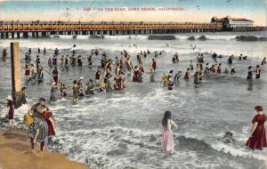 11526  CA Long Beach 1910  Bathers at beach  In the surf