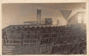 Hartley IA High School Auditorium~Upright Piano~Stage~Fold-Up Chairs~RPPC 1910