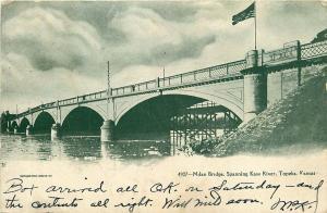 1907 UDB POSTCARD MILAN BRIDGE SPANNING KAW RIVER TOPEKA KANSAS KS