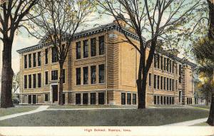 Newton IA~High School w/Cornices~Nice Brickwork~It's Spring~Trees in Bloom~1910
