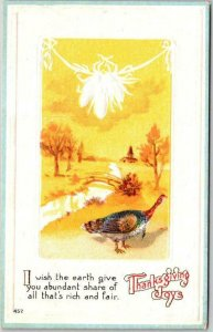 1910s THANKSGIVING Embossed Postcard ...Earth Give You Abundant Share UNUSED