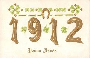 New Year Greetings Bonne Annee 1912 Horseshoe Clovers Antique Postcard J65613