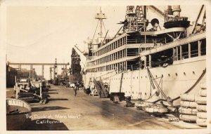 RPPC The Dock at Mare Island, Vallejo, California 1929 Vintage Postcard