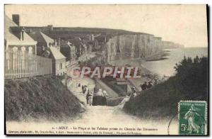 Old Postcard The Ault Beach and Cliffs Taken From customs Path