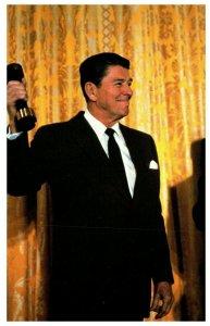 President Reagan Pumping Iron Washington DC Vintage Postcard