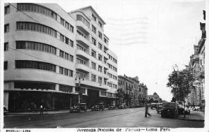 Peru Lima Avenida Nicolas de Pierola, Auto, Cars, Railroad 1939