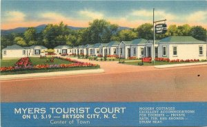 Bryson City North Carolina 1940s Myers Tourist Court Postcard Standard 7397
