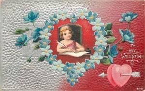 Valentine~Cupid Inside Blue Flower Heart~Arrow~Red to Silver Fade~Emboss~1908