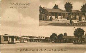 Associate Gallup New Mexico Log Cabin Lodge 1930s Postcard roadside 8258