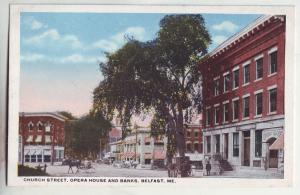 P883 old card church st. opera house banks, scene horse wagon belfast maine