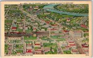 Winnipeg Manitoba MB Canada Postcard Aerial View Linen c1940s Unused