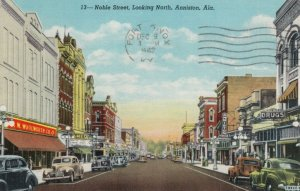 ANNISTON, Alabama, PU-1942; Noble Street, Looking North, Drugs Store