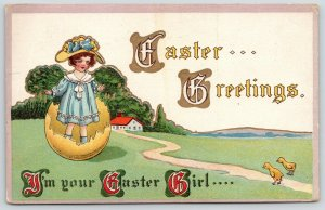 Easter Fantasy~Girl in Sunday Best Stands in Yellow Egg Shell~Chicks~Emboss~1914