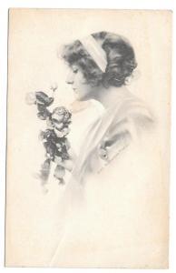 Beautiful Woman Roses Vintage 1912 Schlesinger Postcard