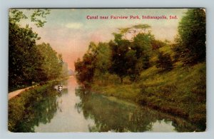 Indianapolis IN, Scenic View Fairview Park Canal Vintage Indiana c1913 Postcard