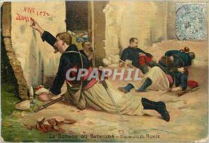 Old Postcard The Last Battalion Army Jules Monge Zouaves