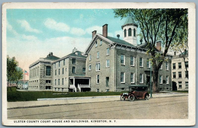 KINGSTON NY ULSTER COUNTY COURT HOUSE ANTIQUE POSTCARD w/ SWASTIKA
