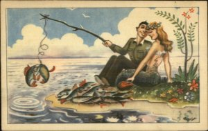 Fantasy Man Fishing on Island w/ Sexy Mermaid c1940 Postcard