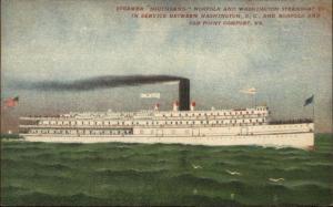 Virginia Steamer Ship Southland Norfolk & Washington Co c1910 Unused PC