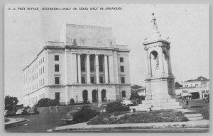 Texarkana Arkansas-Texas~US Post Office~Monument in Front~Classic Cars~1950s B&W