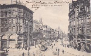 HANNOVER, Lower Saxony, Germany, 1905; Blick Von Cafe Kasten In Die Beorgstrasse