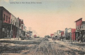 LPS73 Clifton Kansas Looking East on Main Street Town View Hand Colored Postcard